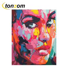 RIHE Colorful Woman Diy Painting By Numbers Abstract Oil On Canvas Hand Painted Cuadros Decoracion Acrylic Paint Art