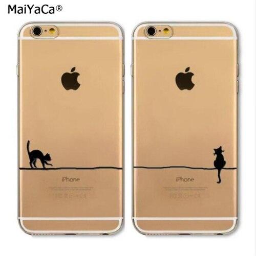 cute cat best friends BFF soft silicone transparent phone case for iphone 5s se 6S 6plus 7 7plus