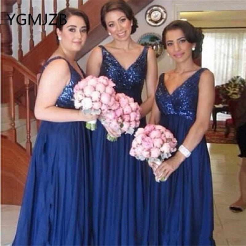 Sparkly Sequin Royal Blue Long   Bridesmaid     Dresses   2019 A-Line V-Neck Women Formal Wedding Party   Dress   robe demoiselle d'honneur