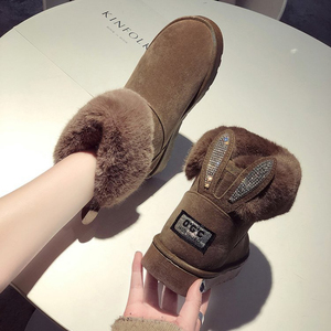Image 5 - SWYIVY שלג מגפי נשים 2019 אישה חורף קרסול מגפי חמוד ארנב שחור נעליים יומיומיות אישה נעלי קטיפה עם פרווה Bottine Femme