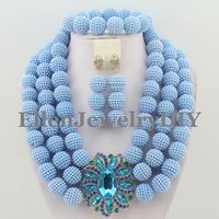 Women's Blue Jewelry Crystal Beads African Jewelry Set wedding party Necklace Set For Brides Free Shipping W9242