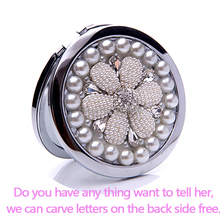 Engrave letters free,bling Crystal Mini Beauty pocket mirror makeup compact mirror,pearl sunflower,stainless steel,wedding gifts