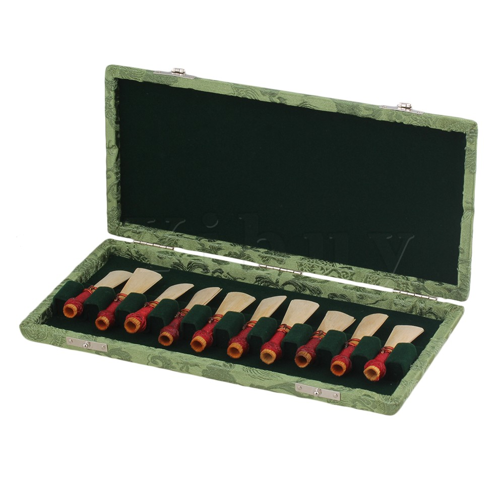 Yibuy Green Bassoon Reed Box Case with Flannel Slot Hold Bassoon 10-Reeds цена