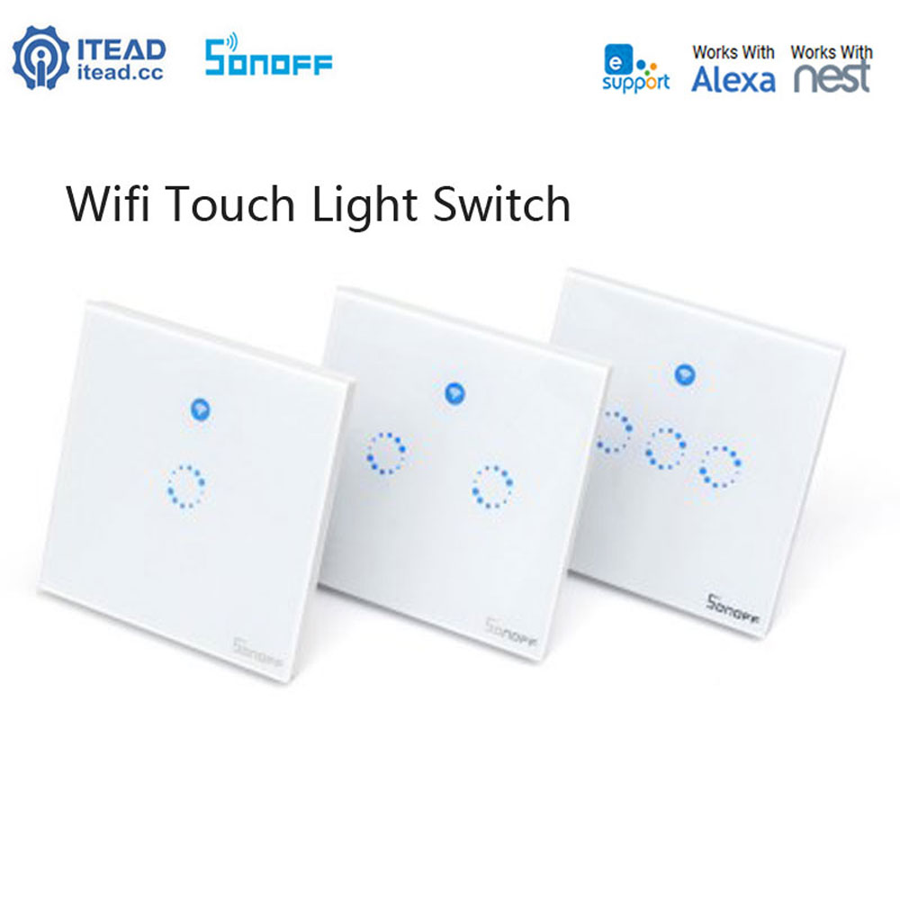 Sonoff T1 Wifi Light Switch UK Panel 1 2 3 Gang 433mhz RF Touch fjärrljusströmbrytare Smart Home Controller Fungerar med Google Home