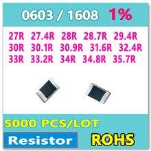 ОМ 0603 F 1% 5000 шт. 27R 27.4R 28R 28.7R 29.4R 30R 30.1R 30.9R 31.6R 32.4R 33R 33.2R 34R 34.8R 35.7R smd 1608 резистор