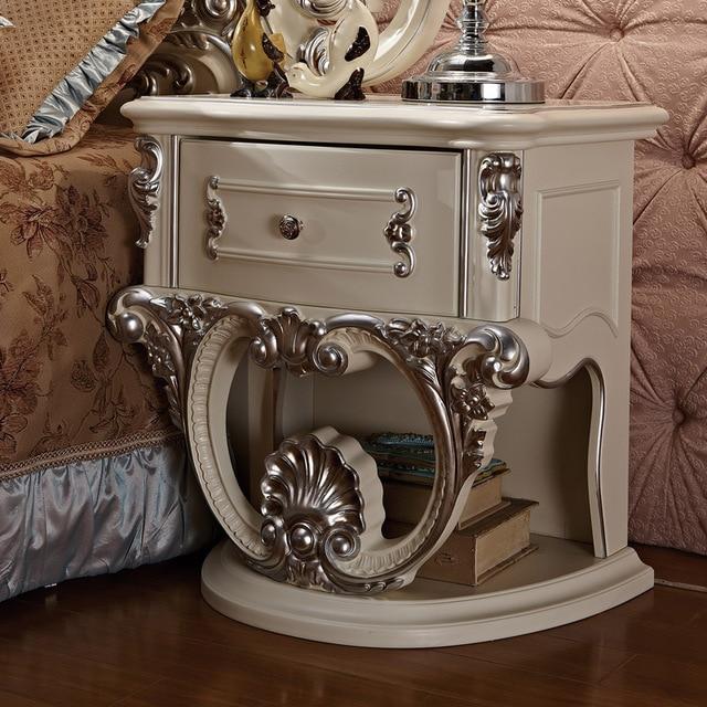 Blanco Europeo francés dormitorio cabecera del cajón del Gabinete ...