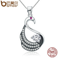 BAMOER 100 925 Sterling Silver Dancing Swan Dazzling CZ Pendant Necklace Women Authentic Sterling Silver Jewelry