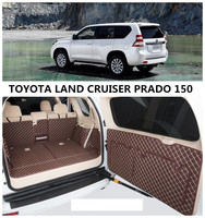 For TOYOTA LAND CRUISER PRADO 150 2010 2019 Cargo Liner Trunk Mats Surrounded by all Carpets High Quality Embroidery Leather Mat