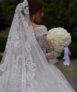 Image 5 - 2020 принцесса, роскошные ювелирные изделия из чистого кружевное свадебное платье в африканском стиле саудовско Аравийский Dubai длинный рукав церкви вечернее платье невесты свадебное платье размера плюс