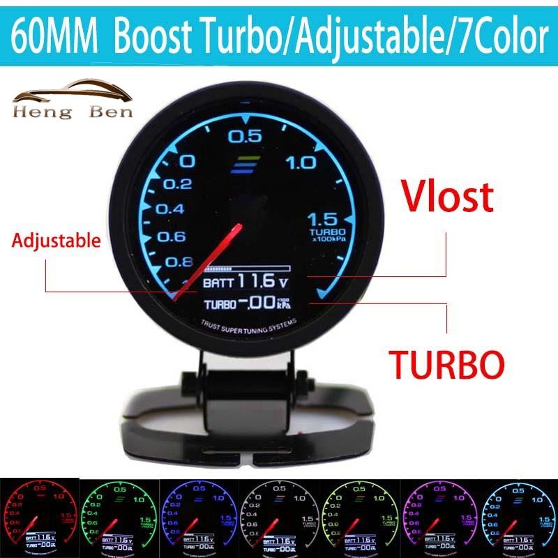 HB 7-Farbe-in-Gauge Turbo Boost Gauge GRedi 7 Licht Farben LCD Display Mit Spannung Meter 60mm 2,5 zoll Mit Sensor Racing Gaug