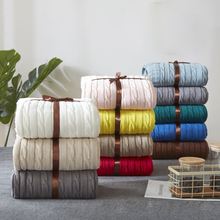 Hot Sale Solid Color Cotton Sofa Throws Knitted Blanket for Bed Plane Office Travel Stripe Rectangular Blankets 120*180cm Gift