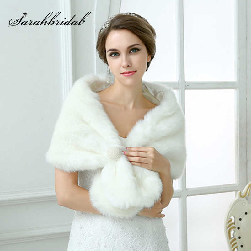 Wedding jacket bridal wraps and shawls 2020 Pearl Faux fur bolero fur capes for women wedding accessories 17003 In Stock