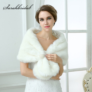 Image 1 - Chaqueta de boda para mujer, chal y chales nupciales, capa de pelo bolero de piel sintética con perlas 2020, accesorios de boda 17003