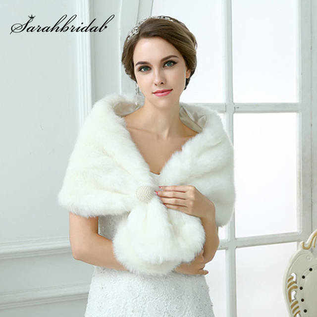 Chaqueta de boda para mujer, chal y chales nupciales, capa de pelo bolero de piel sintética con perlas 2020, accesorios de boda 17003