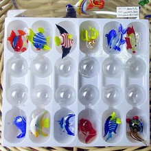 Custom hand blown aquarium floating glass fish miniature Figurines decoration pendant sculpture animal statues