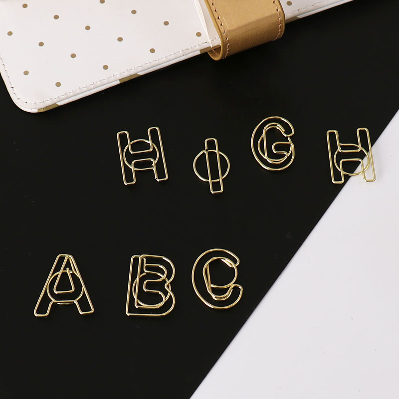 Gold English Letter Modeling Handbook Bookmarks Decorate Cute Stationery Paper Clips Decorative Gold Paper Clips Office Supplies