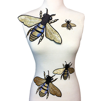 Set Of 4 Large Embroidered Bee Patch Embroidery Bees Applique Big Patches For Clothing Bag Parches