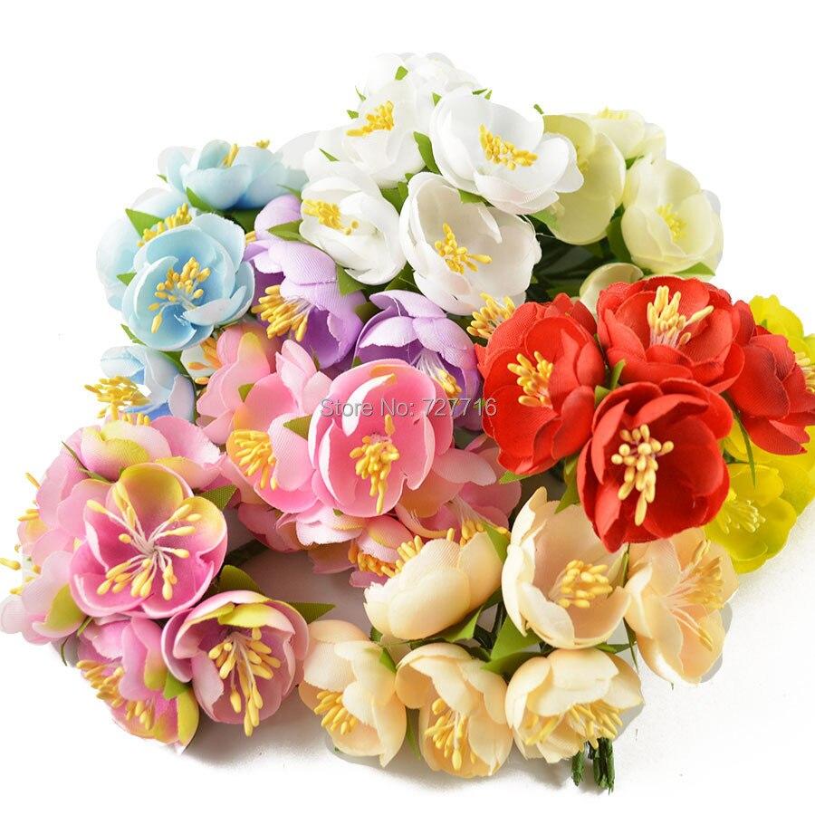 colores mezclados nuevo estilo tela de yemas de flor artificial ramos de flores con tallo de