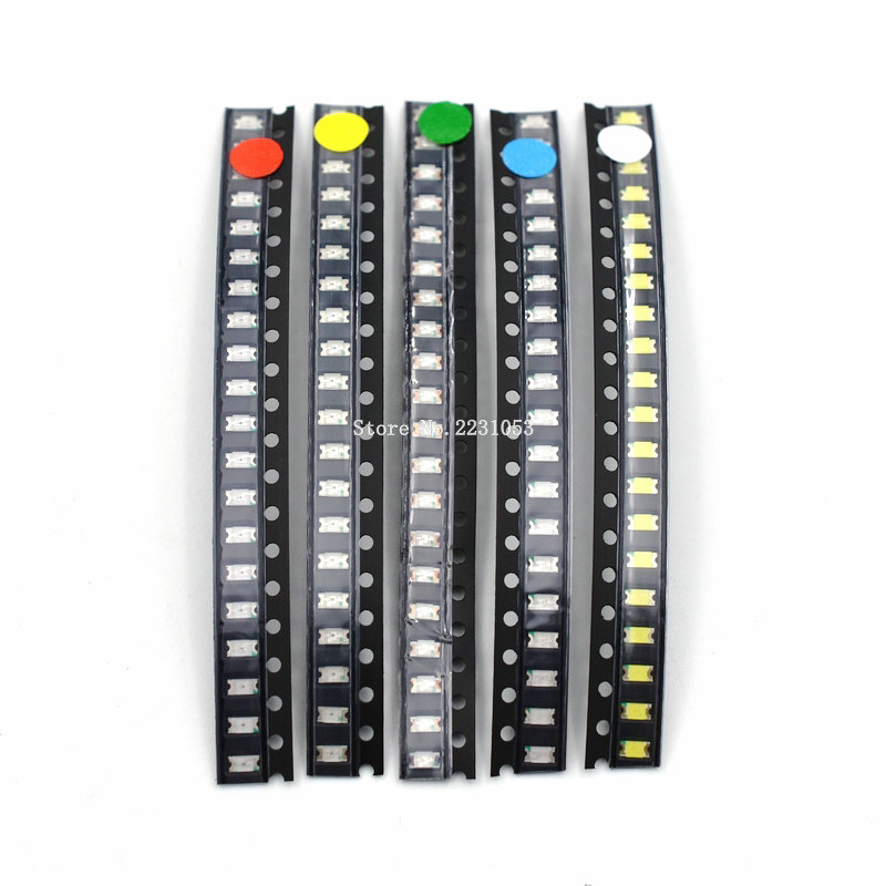 100PCS/LOT 1206 SMD LED Kit White Red Blue Green Yellow 20pcs Each Super Bright 1206 SMD LED Diodes Bead Package Kit