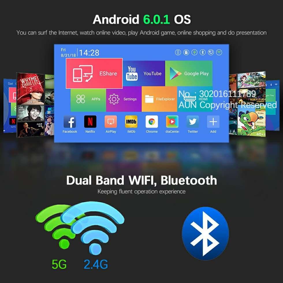 Marca AUN 3D proyector 1280x720 Resolution.12000mAH batería Android WIFI MINI proyector para el teatro en casa de oficina 1080 P 4 K D8S - 4