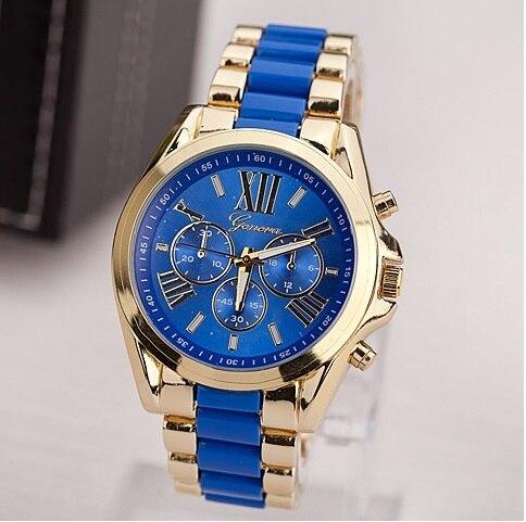 10 pcs lot New Geneva Men Metal Bicolor Watch BIG Business Luxury WOMAN wristwatch Golden analog watch wholesale Pink Mint