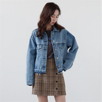 New Fashion Womens Jackets Denim Casual Short Womens Jackets And Coats Slim Fit Jeans Blue Long Sleeve Female Coat A5371