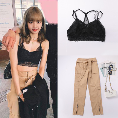 kpop Blackpink LISA the same summer Lace khaki high waist casual overalls pants women korean streetwear trousers female clothes