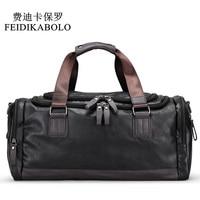 FEIDIKABOLO Design Leather Men Bag Men's Fashion Travel Bags Package Men Large Capacity Portable Shoulder Bags Handbags Male