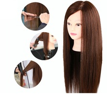 55cm 80% Human Hair Head Great Quality Training Doll Blonde Natural Hairdressing Dolls for Beauty Salon
