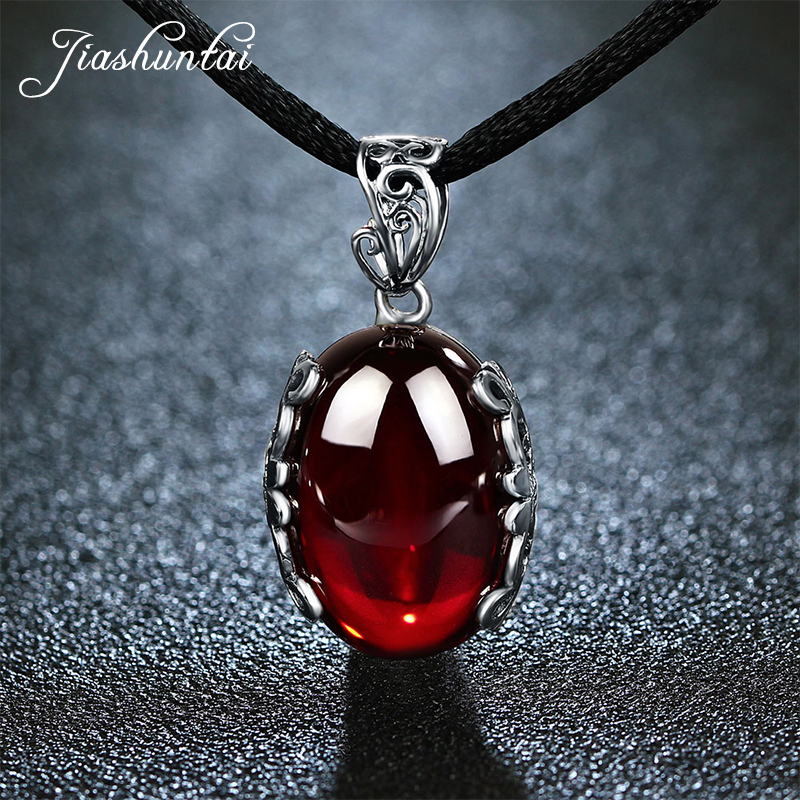JIASHUNTAI Retro 925 Silver Sterling Pendant Necklace Female Silver Jewelry Red Green Stone For Women mason liquid calcium 1 200 mg with d3 400 iu 60 softgels