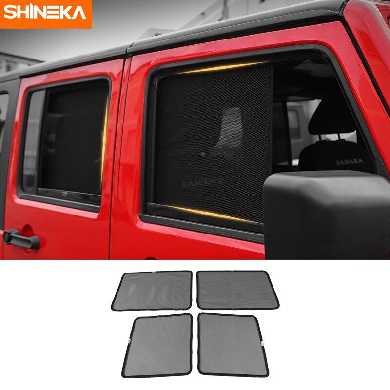 SHINEKA Side Window Sunshades For Jeep Wrangler JK 2007 2017 Anti UV Sun Windshield Sunshade Cover for Wrangler JK Accessories