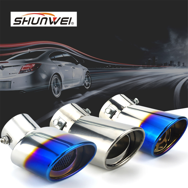 Universal Car Auto Round Exhaust Muffler Tip Stainless Steel Pipe Chrome Trim Modified Car Rear Tail Throat Exhause Liner