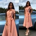 6 botão de cor frente dividir dress 2016 novo projeto turn-down collar costura a linha de vestidos longos