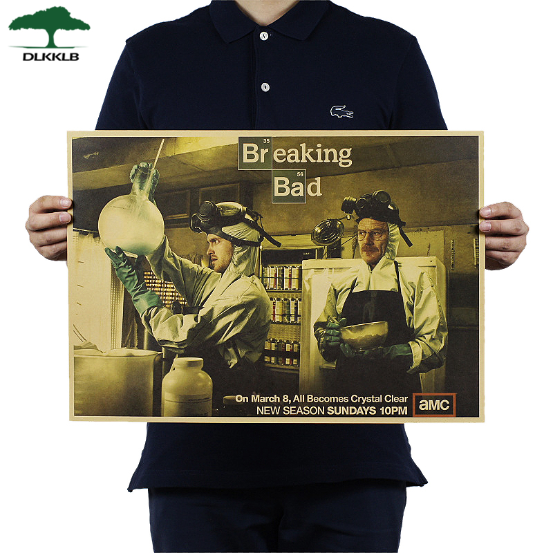 DLKKLB Breaking Bad Wall Sticker Classic American Tv Series Poster Retro Craft Paper Bar Cafe Poster 51.5x36cm Home Decoration