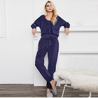 Velvet Suits Women Three Pieces Set Solid Top+Vest+ Bottom Elastic Waist 4 Colors Cotton blended New Casual Style Fashion 2018