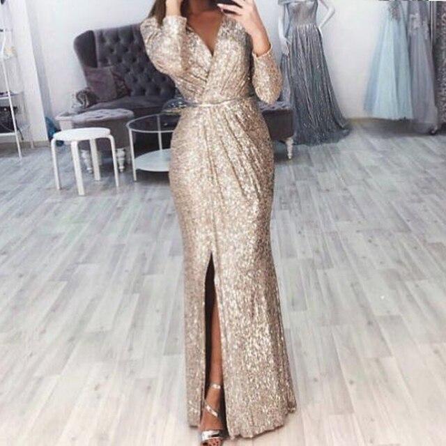 Missord 2019 Sexy V Neck Long Sleeve Glitter High Split Dresses Female Elegant Party Clubwear Maxi Elegant Dress VestdiosFT18776