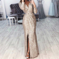 Missord 2019 Sexy V Neck Long Sleeve Glitter High Split Dresses Female Elegant Party Clubwear Maxi Elegant Dress VestdiosFT18776