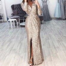 Missord 2019 сексуальные платья с v образным вырезом и длинными рукавами, с блестками, с высоким разрезом, женские элегантные вечерние клубные платья, макси, элегантное платье FT18776Платья    АлиЭкспресс