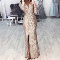 Missord 2020 Sexy V Neck Long Sleeve Glitter High Split Dresses Female Elegant Party Clubwear Maxi Elegant Dress VestdiosFT18776