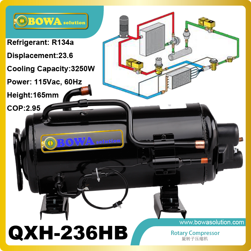 3250W Cooling capacity refrigeration compressor (R134a) installed in bottle cooler 5 pcs qdzh35g r134a 12v cooling compressor for marine refrigeration unit