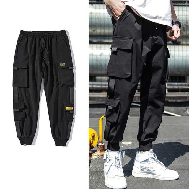 Spring Hip Hop Joggers Men Black Harem Pants Multi-pocket Ribbons M-3XL 1