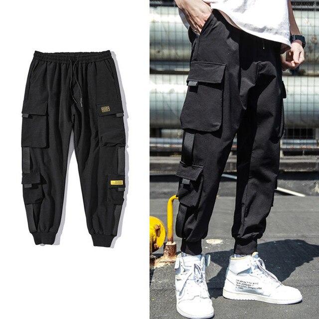 2020 Spring Hip Hop Joggers Men Black Harem Pants Multi-pocket Ribbons Man Sweatpants Streetwear Casual Mens Pants M-3XL 42