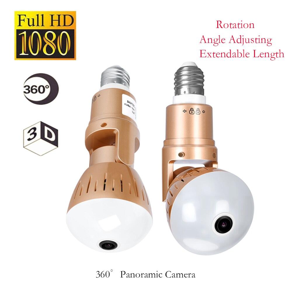 1080 Wireless Panoramic IP 3D VR Camera WIFI Bulb Light FishEye Surveillance White light infrared CCTV Home Security Mini Cam