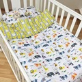 3pcs Baby Bedding Set Crib bed Linen Kit Kids Cotton Newborn Bed Sheets Quilt Cover Pillow Case Without Filler Clouds Pine