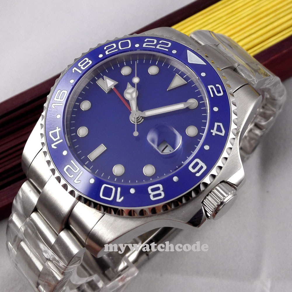 лучшая цена 43mm bliger sterile blue dial GMT Ceramic Bezel sapphire glass date window automatic mens watch P297