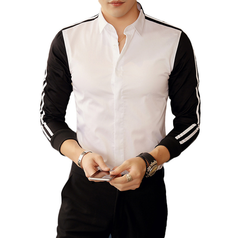 Herrenbekleidung & Zubehör Hemden VertrauenswüRdig Drehen Unten Kragen Gestreiften Langarm Shirt Farbe Block Business Männer Slim Fit Top Dauerhafter Service