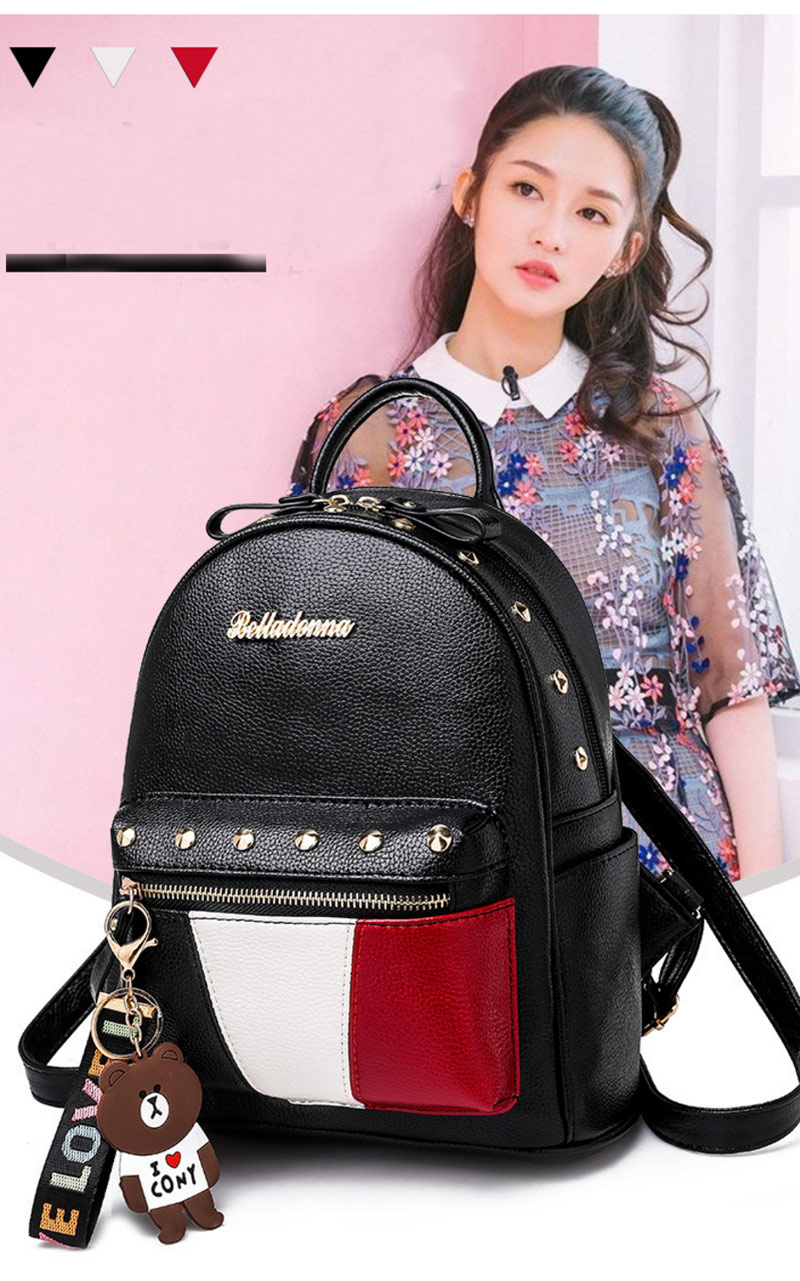 2019 Women Preppy Style Panelled Color Print Backpack Black Studded PU Faux Leather School Bag Small Fashion Rivet Travel Pack (21)