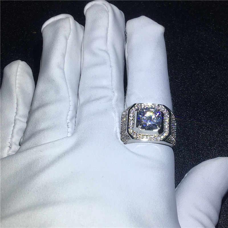 Choucong, роскошное мужское кольцо, большое, 3ct, прозрачное, 5A, циркон, cz, 925 пробы, серебро, обручальное кольцо, кольца для мужчин, хорошее ювелирное изделие