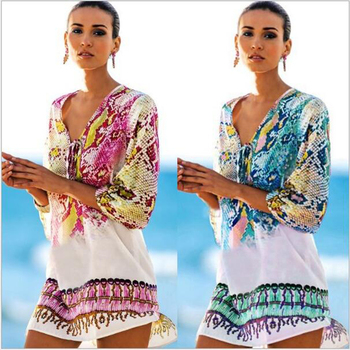Women Beach Coverup Vintage Half Sleeve Serpentine Pattern Irregular Hem