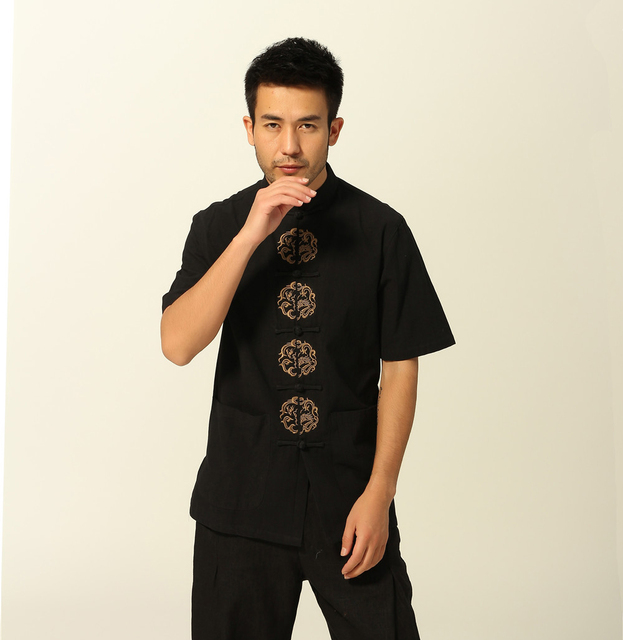 New Style Chinese Men's Cotton Kung Fu Shirt Summer Short Sleeve Shirt Vintage Emboidery Dragon Tang Suit Tops M L XL XXL XXXL